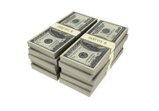 3D Stacks of Hundred US Dollars Stock Image