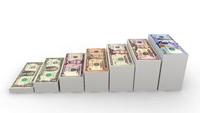 3d stacks of US dollar notes Royalty Free Stock Photography