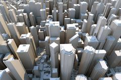3d stad - sikt från över Royaltyfri Fotografi