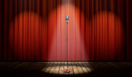 3d stadium met rood gordijn en uitstekende microfoon in vleklicht Royalty-vrije Stock Foto's