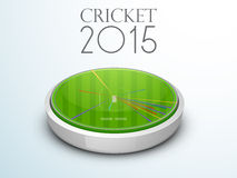 3D stadium showing ball shot for Cricket concept. 3D glossy stadium showing ball shot statistic for Cricket 2015 concept on shiny sky blue background Royalty Free Stock Photo