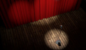 3d stage with red curtain and vintage microphone. In spot light, top view Stock Photo