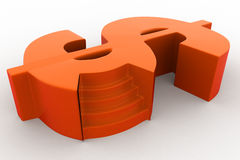 3d stage in shape of dollar symbol concept Royalty Free Stock Photos