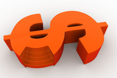 3d stage in shape of dollar symbol concept Stock Images