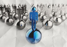 3d stainless human social network and leadership on crumpled pap Stock Photography