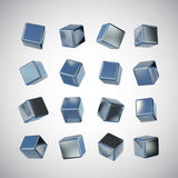 3D stainless steel cube Royalty Free Stock Image