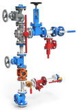 3d stainless steel piping system with valves Stock Photos