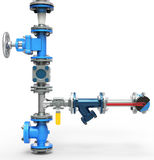 3d stainless steel piping system with valves Royalty Free Stock Image
