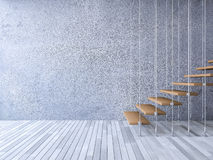 3d staircase hanged by cables. 3ds rendered image of wooden staircase hanged from ceiling by stainless cables, cracked concrete wall and old wooden floor stock illustration