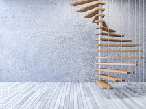 3d staircase hanged by cables. 3ds rendered image of wooden spiral staircase hanged from ceiling by stainless cables, cracked concrete wall and old wooden floor stock illustration