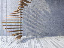3d staircase hanged by cables. 3ds rendered image of wooden spiral staircase hanged from ceiling by stainless cables, shadow on cracked concrete wall and old vector illustration