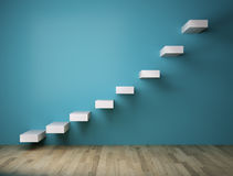 3D Stairs on blue wall indoor Royalty Free Stock Photography