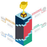 3d stairs step to trophy and success. Business success concept infographic template. Stock Images