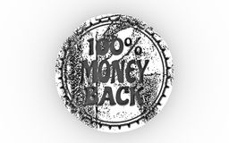 3D stamp icon. Stamp icon. Graphic design elements. 3D rendering. 100 percent money back text Stock Images
