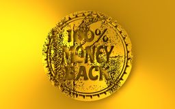 3D stamp icon. Stamp icon. Graphic design elements. 3D rendering. 100 percent money back text. Golden metallic material Royalty Free Stock Photography