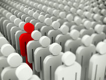 3d standing out of crowd concept. 3d illustration of unique special man standing out of crowd Royalty Free Stock Photo