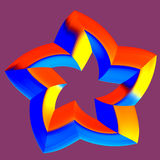 3D star. Abstract 3D Red Orange Rating Star with five arms royalty free illustration