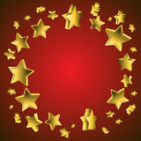 3d Star Background. Abstract background with flying stars on red background Royalty Free Stock Images