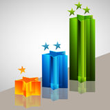 3d Star Bar Chart Stock Photo