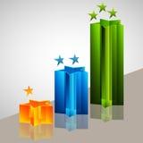 3d Star Bar Chart. An image of a 3d star bar chart Stock Photo