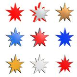 3D star in different element and color versions 2. Isolated on white background Royalty Free Stock Photo