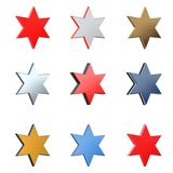 3D star in different element and color versions 1. Isolated on white background Stock Images