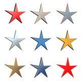 3D star in different element and color versions 3. Isolated on white background Stock Images