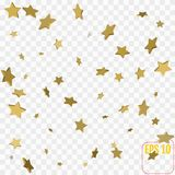 3d Star Falling Print. Gold Yellow Starry on transparent   Stock Images