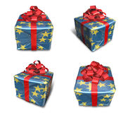 3D star pattern wrapped gift box set. 3D Icon Design Series. Royalty Free Stock Photos