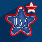 3D Stars for American Independence Day. Creative 3D Stars with stylish text U.S.A on blue background for 4th of July, American Independence Day celebration royalty free illustration