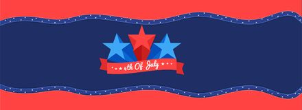 3d Stars on paper cut american flag background for 4th Of July h. Eader or banner design Vector Illustration