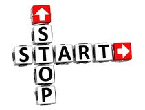 3D Start Stop Button Click Here Block Text. Over white background Stock Image