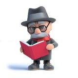 3d stary człowiek czyta książkę Zdjęcia Royalty Free