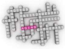 3d starzenia się słowa chmury pojęcie - ilustracja zdjęcie stock
