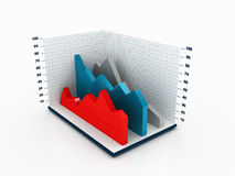 3D Statictical Chart. 3D illustration of a chart space displaying area chart Royalty Free Stock Photo