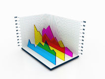3D Statictical Chart. 3D illustration of a chart space displaying transparent area chart Stock Images