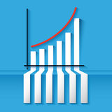 3D statistics growing up success arrow and upstair. 3D statistics red growing up success arrow and upstairs steps ladder Royalty Free Stock Image