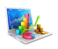 3d statistics on laptop. White background, 3d image Stock Images