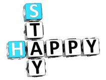 3D Stay Happy Crossword. On white background Stock Image