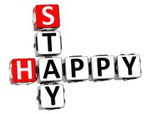 3D Stay Happy Crossword. On white background Royalty Free Stock Photos
