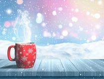 3D steaming Christmas mug on a wooden table against a snowy land Stock Photos