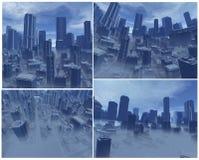 3D steden met mist Stock Afbeeldingen