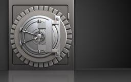3d steel bank door safe. 3d illustration of metal safe with steel bank door over black background Royalty Free Stock Photos