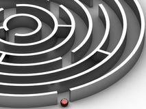 3D steel Circular maze Stock Photo