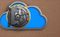 3d steel door cloud. 3d illustration of cloud with steel door over bricks wall background Royalty Free Stock Photography