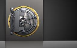 3d steel door safe. 3d illustration of metal box with steel door over black background Stock Image