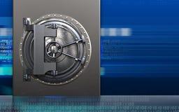 3d steel door steel door. 3d illustration of metal box with steel door over cyber background Royalty Free Stock Photography