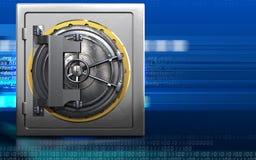 3d steel door steel door. 3d illustration of metal safe with steel door over cyber background Stock Photo