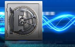 3d steel door steel door. 3d illustration of metal safe with steel door over digital waves background Stock Photo