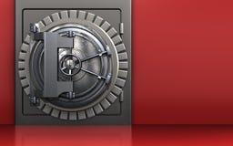 3d steel door steel door. 3d illustration of metal safe with steel door over red background Royalty Free Stock Image
